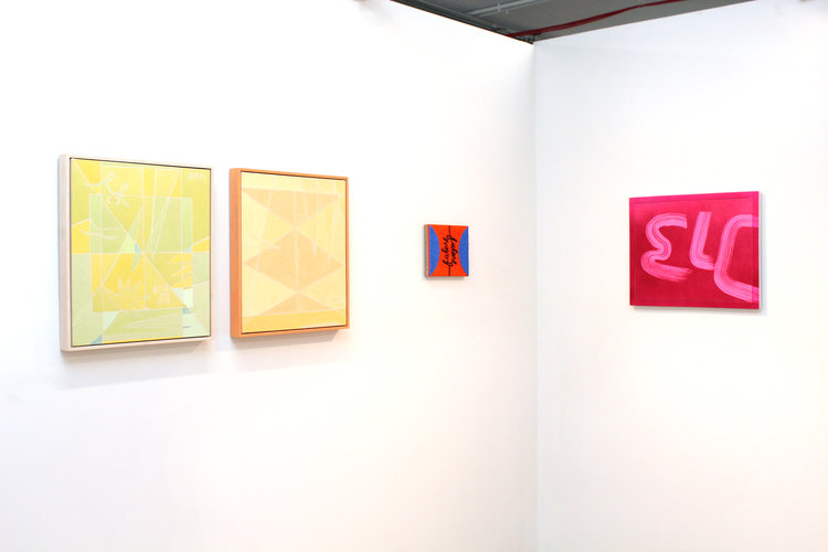 Left to right: Margaux Ogden,  Flash Back  and  Throw Books , 2016; Tracy Thomason,  Future/Future , 2017; Wendy White,  ELC , 2015