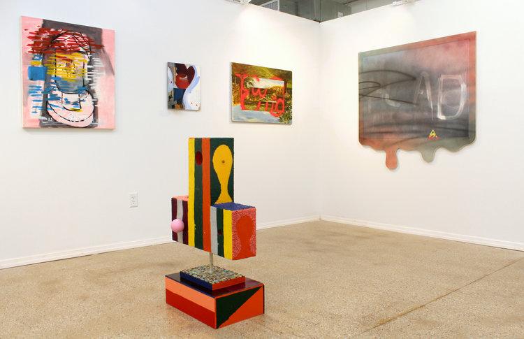 Clockwise: EJ Hauser,  broken nose , 2012-13; James Hyde,  Seeking Sculpture , 2015; Ezra Johnson,  The End , 2012; Wendy White,  K2 , 2015; Austin Eddy,  City Face (Vertical Stripes, Pink Ball) , 2016.