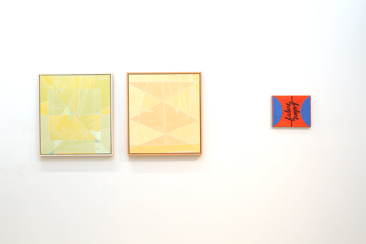 Left to right: Margaux Ogden,  Flash Back  and  Throw Books , 2016; Tracy Thomason,  Future/Future , 2017.