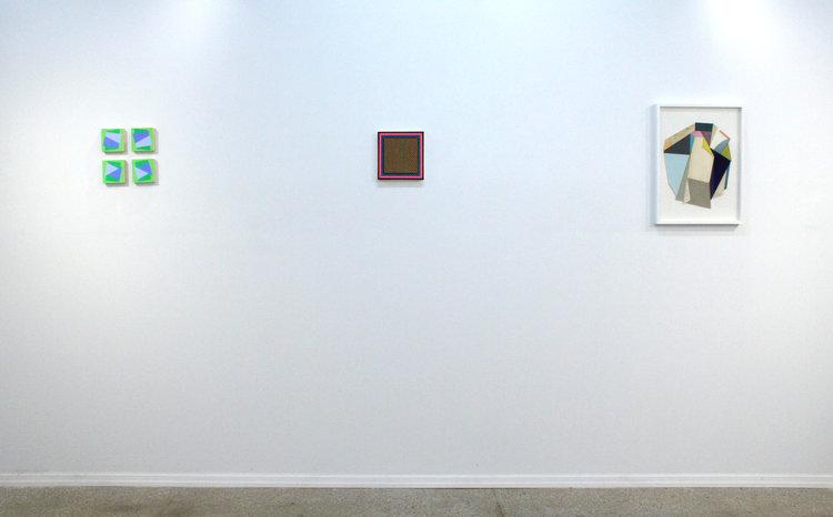Left to right: Hanz Hancock,  Untitled,  2016; Andy Parkinson,  Frame (miniature) , 2016; Lauri Hopkins,  Slippy , 2016