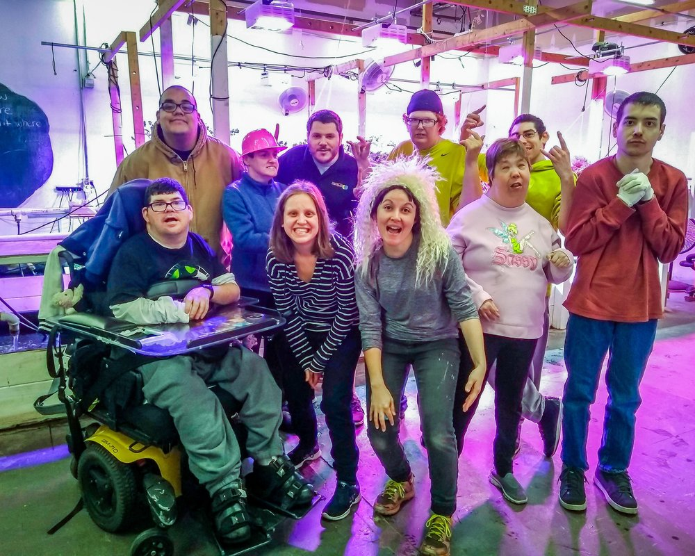 Our Trifecta Ecosystems team having some fun with our Midstate Arc participants. The Midstate Arc - a nonprofit dedicated to enabling people with intellectual and developmental disabilities to lead more independent and fulfilling lives - uses indoor aquaponic farming as a way to increase social integration and support participants in reaching their full potential.