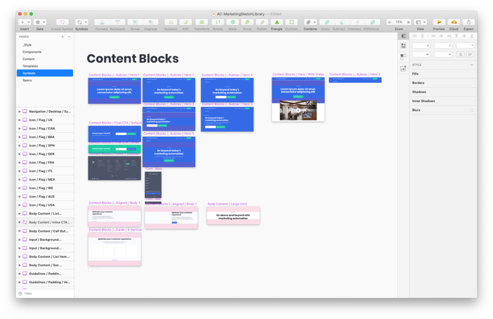 Various reusable content blocks we created in Sketch as symbols so they could be used across multiple page designs