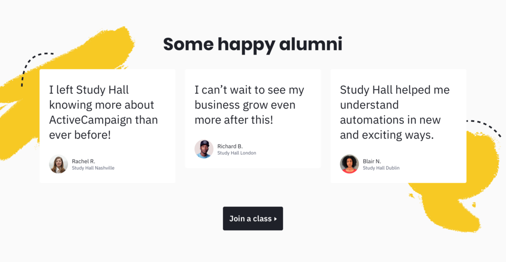 The testimonial section fo the Study Hall landing page, including some hand-drawn elements