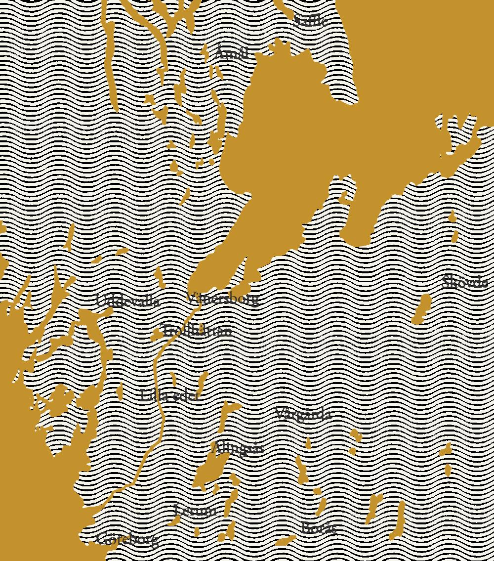 Karta som visar kvinnojourer och stödverksamheter i Västergötland och Västra Götalands län.