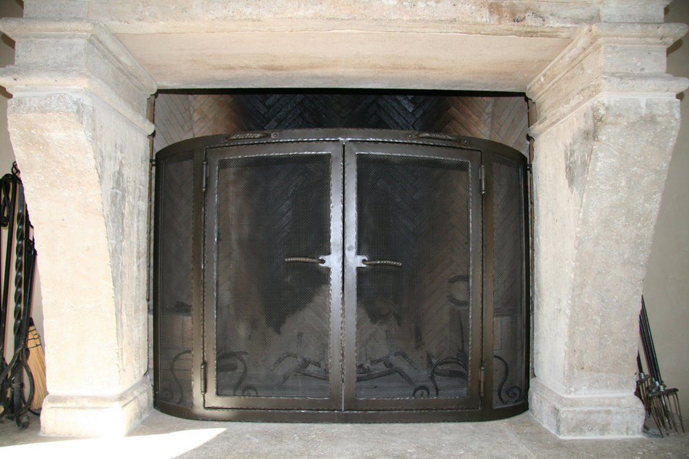 Steel Fireplace with Patina