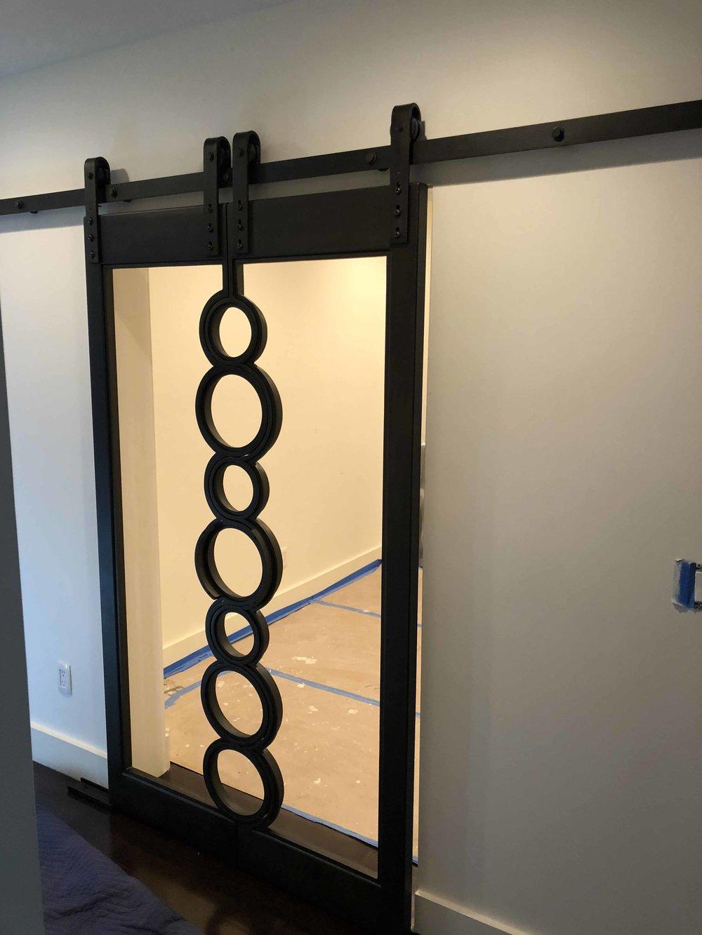 Steel Sliding Door with Black Patina