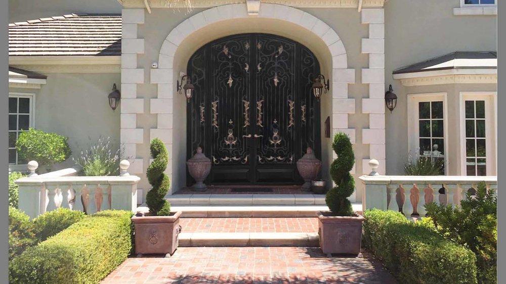 Wrought Iron Door with Bronze Leaves