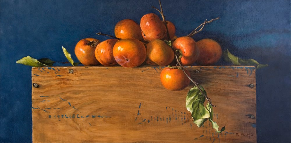 """Persimmons on a Wooden Crate"" by artist, Elizabeth Floyd. Oil on canvas. 2013. Available at Principle Gallery, Alexandria VA."