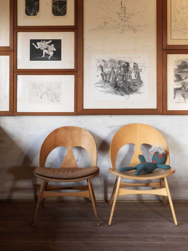 Borge Mogensen's Shell Chairs in his own home.