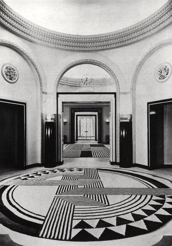 Marion Dorn rugs in the lobby of Claridges.