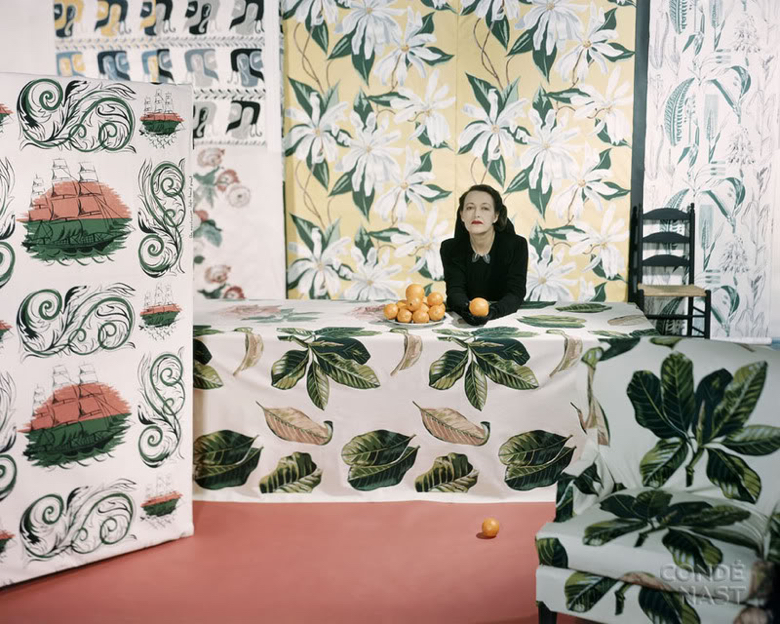 Marion Dorn and her fabrics from the July 1947 House and Garden, photograph by Horst P. Horst.