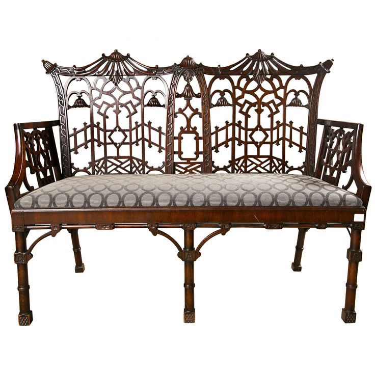Elaborate Chinese Chippendale Settee