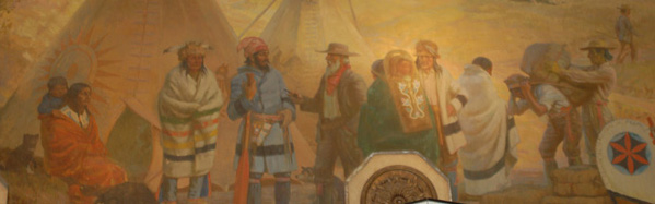 """""""Pioneer at Fort Garry 1861"""", oil on canvas by Adam Sherriff Scott assisted by E.T. Adney, 1925. Detail from mural installed in the Winnipeg Hudson's Bay Company store depicting aboriginals, Métis and settlers wearing blankets and engaged in trade."""