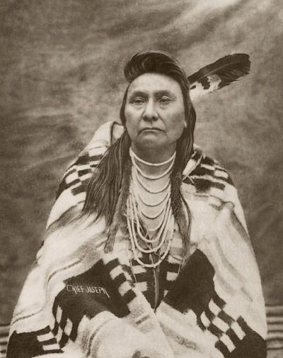 Chief Joseph, Nez Perce, with a Pendleton Blanket.