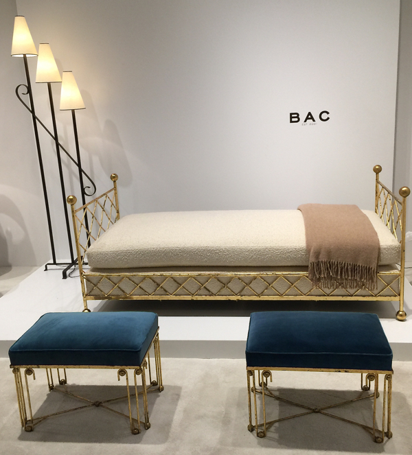 """Gallery BAC featured a pair of Royere""""Ondulation benches, a """"Tour Eiffel"""" day bed and Royere floor lamp at Collective Design Fair 2015. Photograph by Lynn Byrne"""