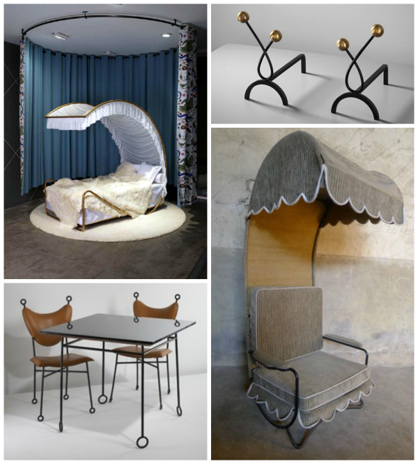 """Some of Royere's more whimsical designs include, clockwise, his """"Starlette"""" bed, """"Boule"""" andirons, patio furniture and """"Yo Yo table and chair set."""