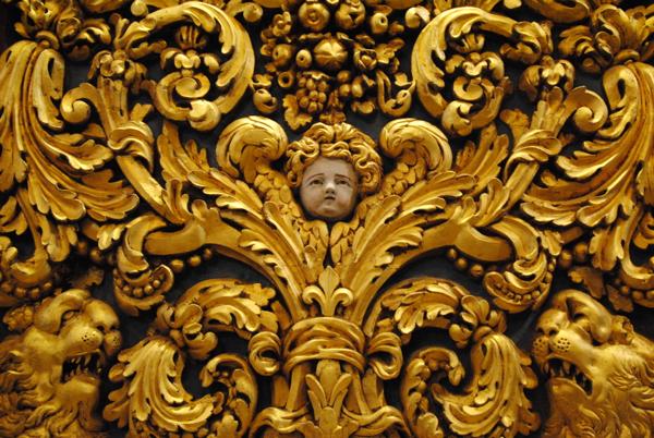 Baroque cherub, detail from St. Johns Cathedral. Valletta, Malta