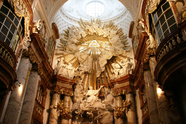 The altar in St. Charles Church in Vienna