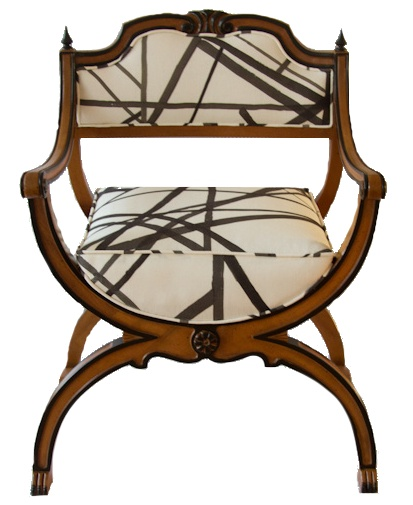 Curule chair upholstered in a Kelly Wearstler fabric