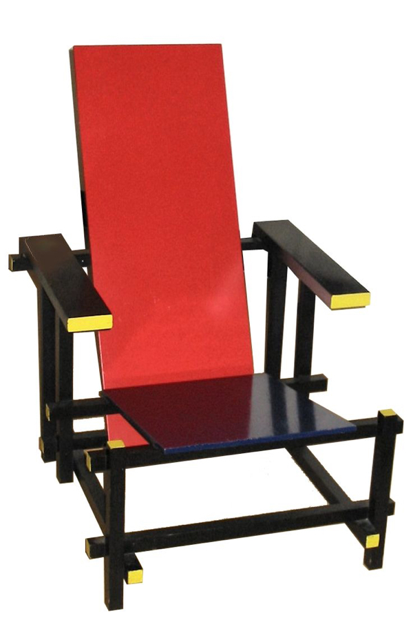 Red and Blue Chair designed by Gerrit Rietveld in 1917.