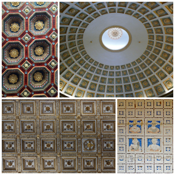 Coffered ceilings clockwise: at Mir Castle, Belarus, the dome at Museum of Asian art of Corfu, Greece, at Elahbel tower tomb, Palmyra, Syria, at the Basilica di Santa Maria Maggiore, Rome.