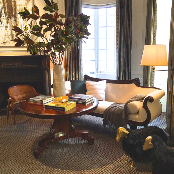 Matthew Patrick Smyth's room at the 2014 Holiday House NYC, featuring a chair by Edward Wormley
