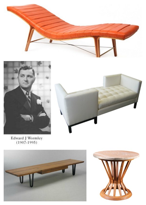 Popular Wormley designs. Clockwise, the Listen to Me chaise, the Tete-a-tete sofa, the Sheaf of Wheat table, and the Long John coffee table.