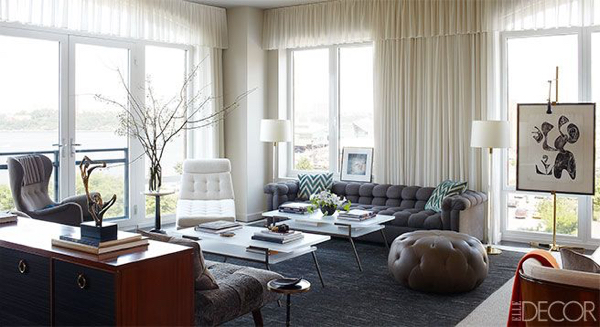 NASCAR's Jimmie Johnson's New York Apartment featuring an Edward Wormley sofa