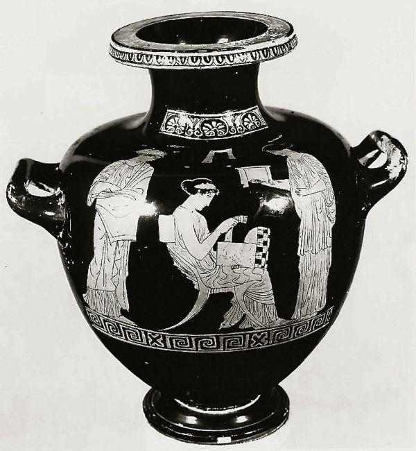 Greek vase depicting a klismos chair, c. 5th century B.C.
