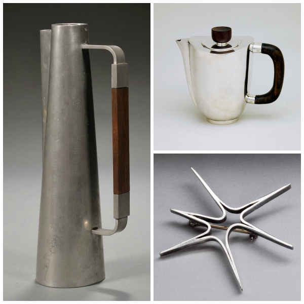 Coffee pots and jewelry made by Paul Evans in the early 1950's.