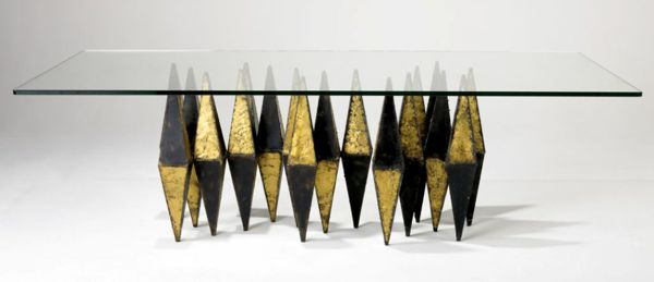 Paul Evans dining table, hand sculpted and patinated bronze and steel.