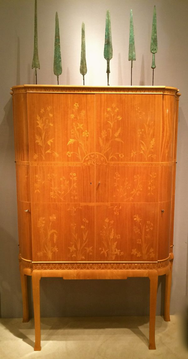 A rare swedish marquetry cabinet in satinwood and birch by Carl Malmsten. c. 1935. Photograph by Lynn Byrne.