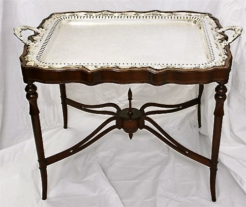1910 English Sheffield Silver Plate Butlers Fitted Tray Table Stand