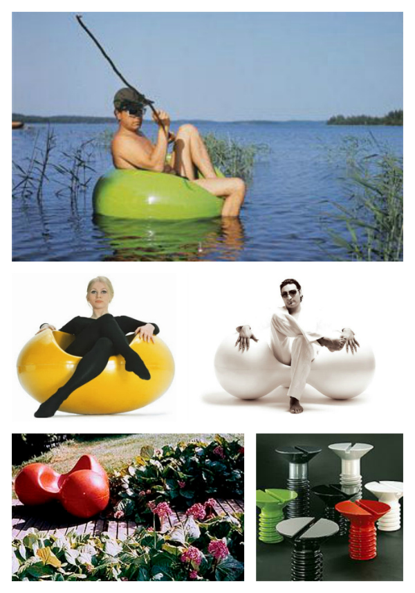 Furniture by Eero Aarnio. Pastil Chair floating and in yellow, Tomato chair in white and in garden, Screw Table