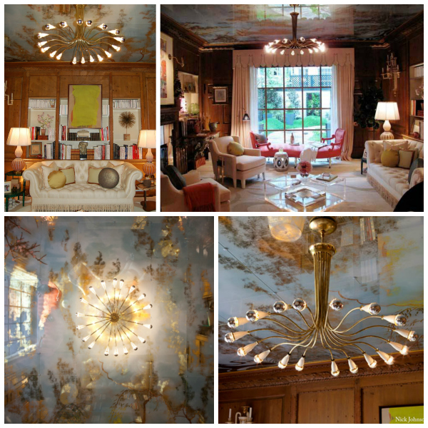 Celerie Kemble's room in the 2011 Kips Bay Show House with its verre eglomise ceiling.