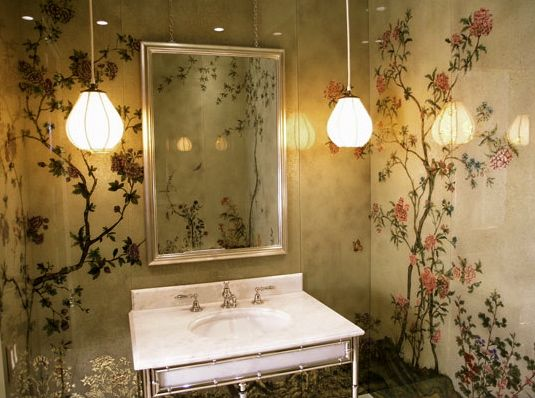 Verre eglomise on the powder room walls