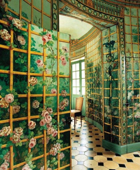 Via World of Interiors. Verre Eglomise walls.