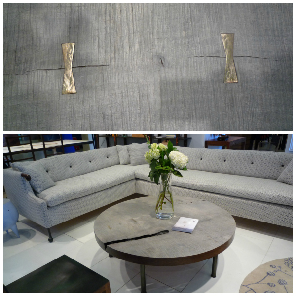 Brass butterfly-style dovetail joints on a coffee table by BDDW