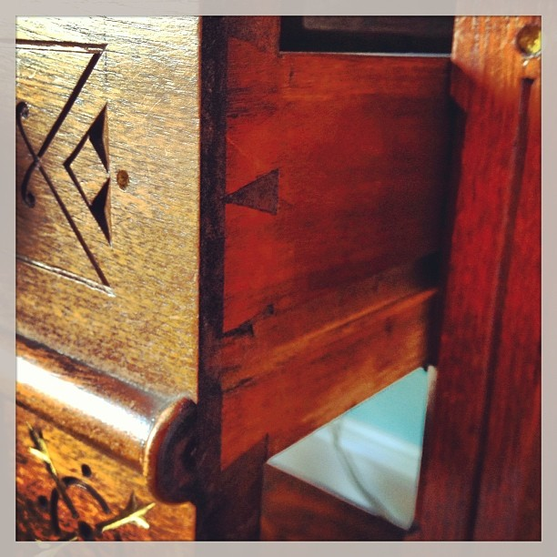 Dovetail joint on the drawer of the Victorian period desk in my office