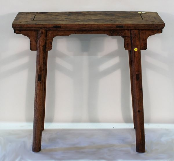 Antique Asian side table. Note mortise and tenon in legs