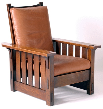 Chair by Gustav Stickley (1902) with mortise and tenon joints seen easily at base