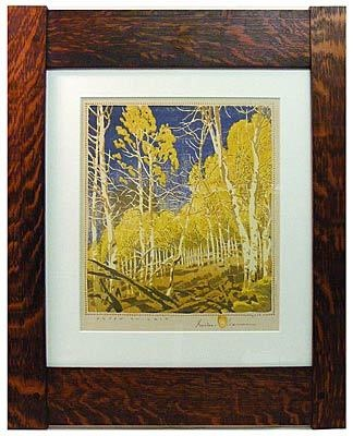 Arts and Crafts print in a classic mortise and tenon frame