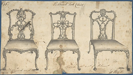 Line drawing of chairs by Thomas Chippendale.