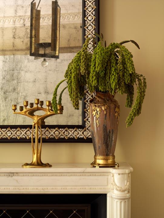 Art Nouveau vase and candélabre. Interior design by Darren Henault