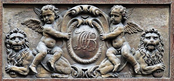 Cartouche with the monogram of Jean-Baptiste Amelot de Bisseuil, by Thomas Regnaudin (French, 1622–1706). Carved wood, ca. 1660, from the door panels of the Hôtel Amelot de Bisseuil, 47 rue Vieille-du-Temple, 4th arrondissement of Paris.