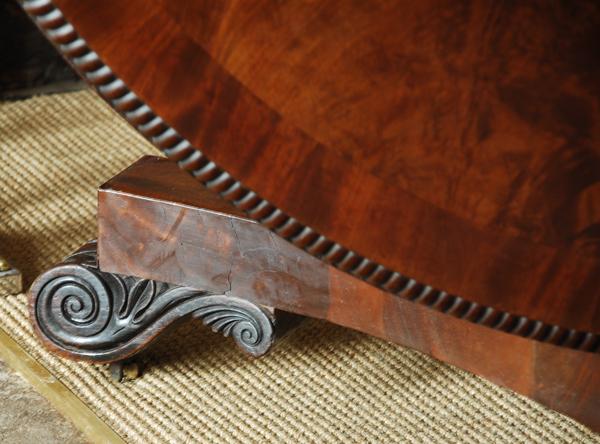 Late Regency mahogany circular tilt top breakfast table.