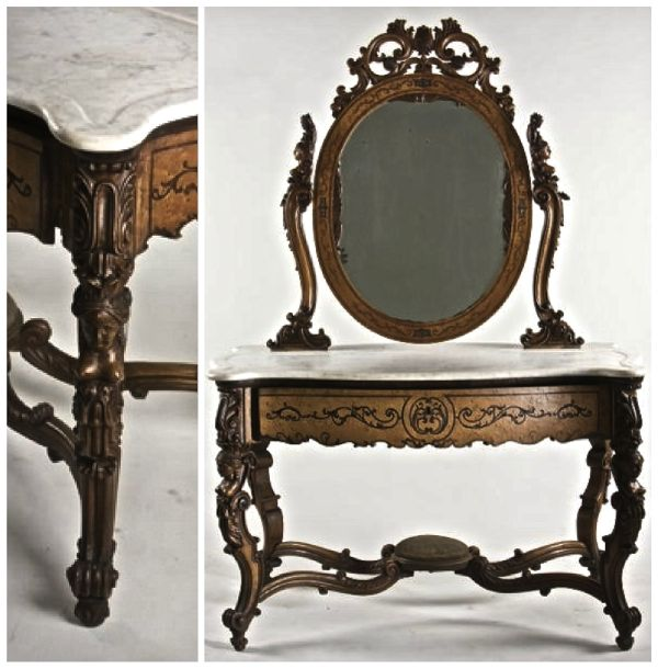 Dressing Table from the Victorian Renaissance Revival Period with Caryatids. Excuse the blurriness–it is a very common form.