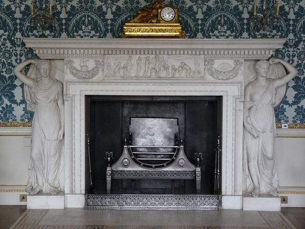 Neo-classical fireplace with caryatids in the Drawing Room at Kedleston Hall, England