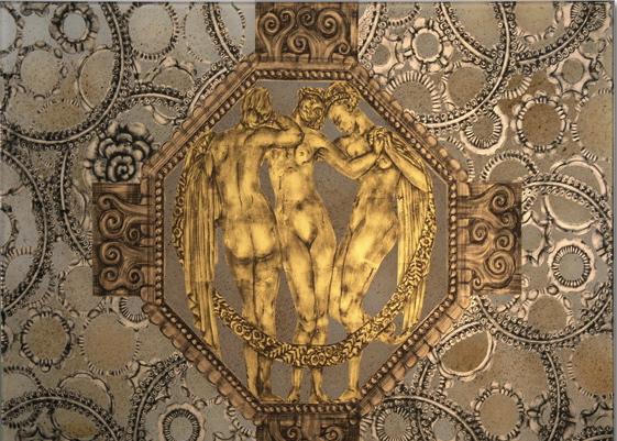 Detail of verre eglomise by Miriam Ellner in a men's master bath