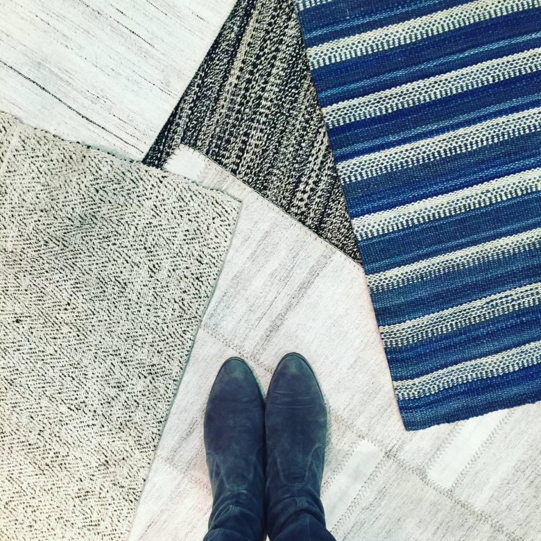 Flat weave rugs shown by Nasiri shown at the Architectural Digest Home Show